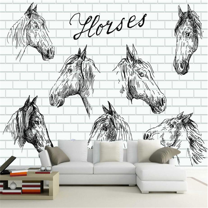 Custom Photo Wall Mural Hand Painted Horse Wall 3d Wallpaper Murals for Bedroom TV Background 3d Wall Mural Wallpaper Embossed wdbh custom mural 3d photo wallpaper gym sexy black and white photo tv background wall 3d wall murals wallpaper for living room