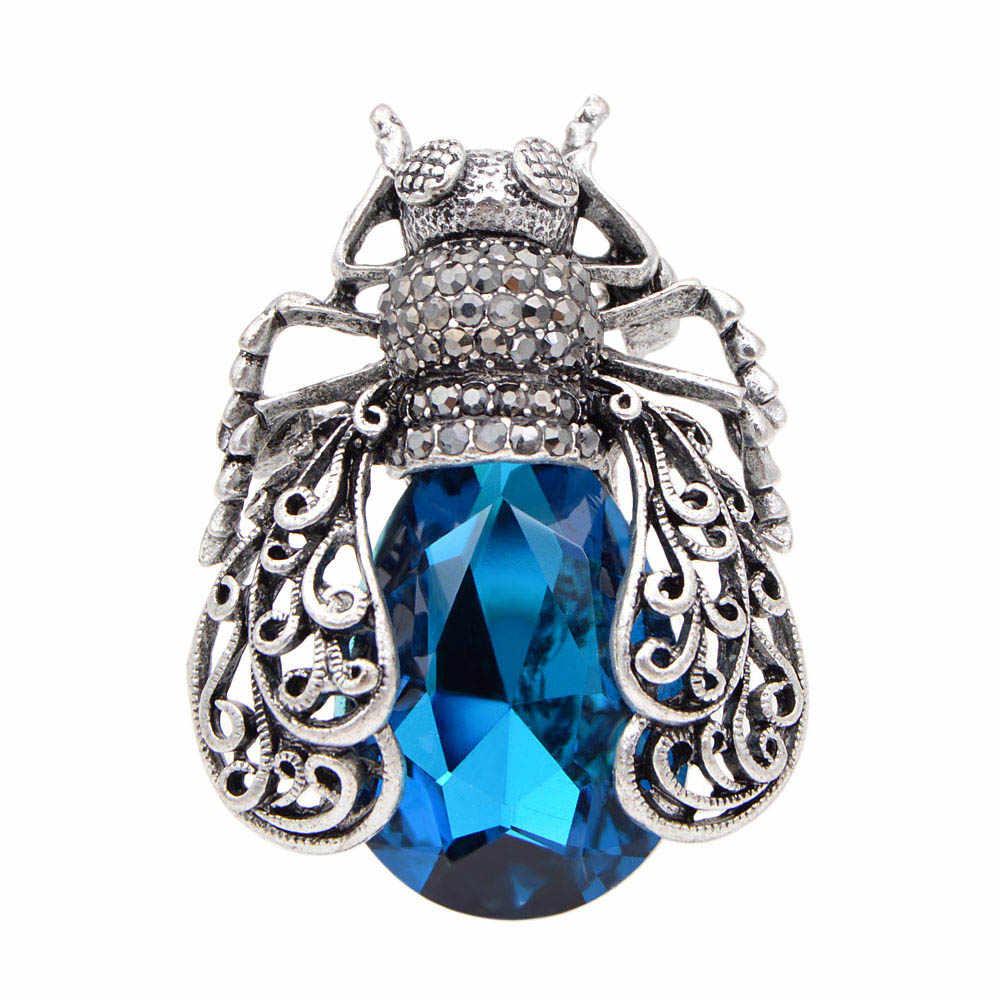 Cindy Xiang 3 Warna Memilih Kristal Bug Bros untuk Wanita Vintage Fashion Beetle Pin Hollow-Out A Bros Tinggi kualitas
