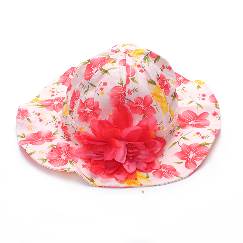 New Girls Sun Hats Flower Cotton Kids Hat Fashion Sun Hat For Girl Spring Summer Kids Cap With Pearl 2017 Children Accessories summer can be folded anti uv sun hat sun protection for children to cover the sun with a large cap on the beach bike travel