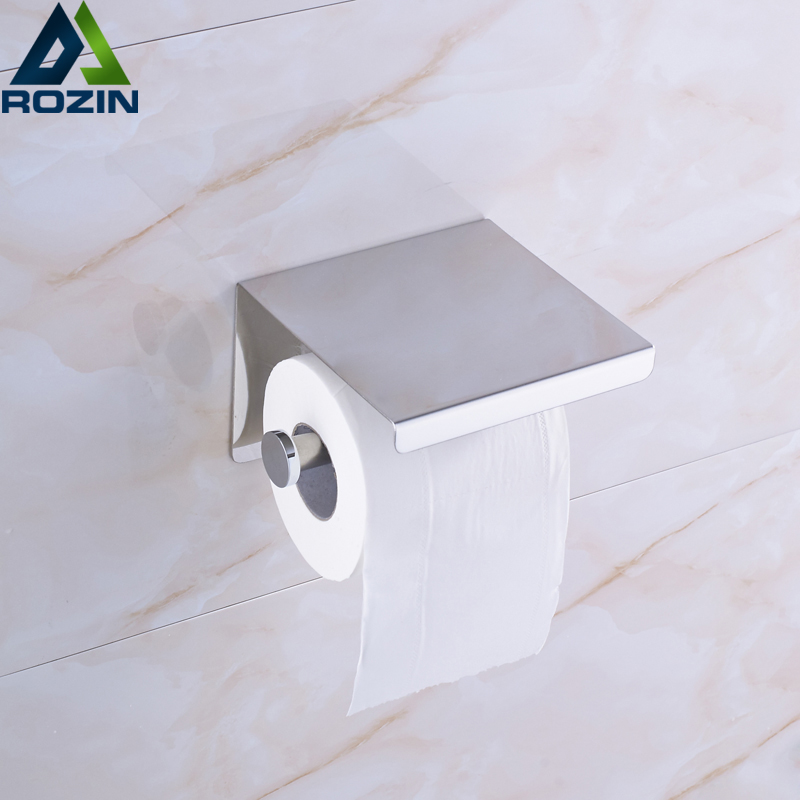 Polished Chrome Roll Paper Holder Wall Mounted Toilet Paper Rack Mobile Phone Shelf Paper Holder Rod free shipping high quality bathroom toilet paper holder wall mounted polished chrome