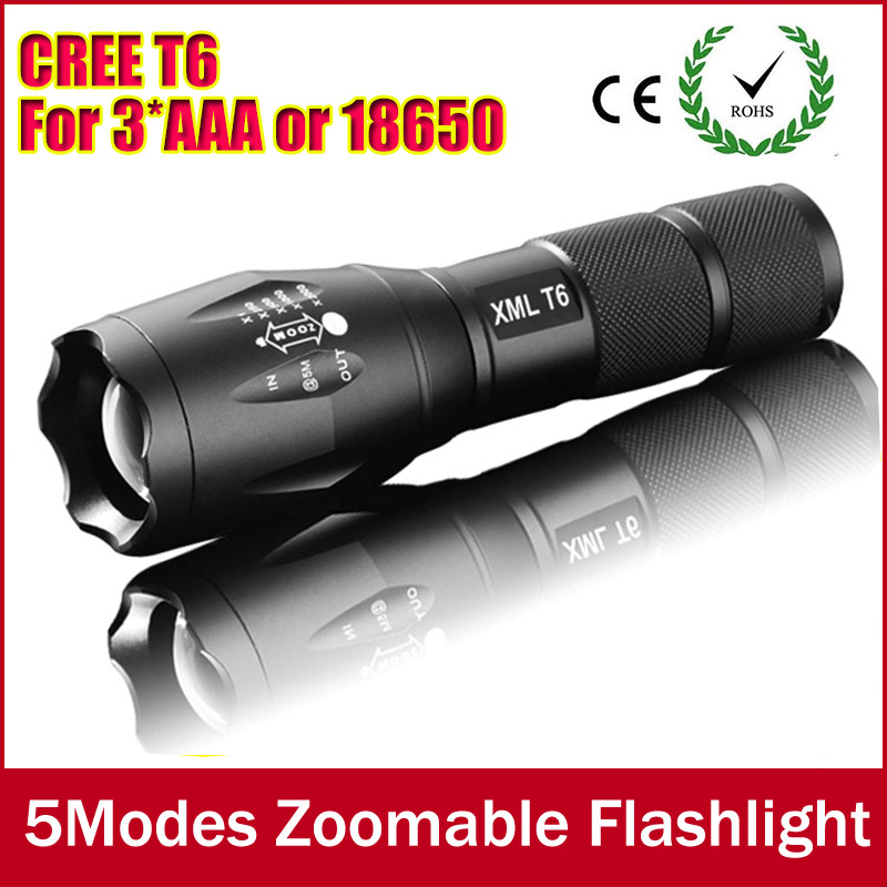 E17 CREE XM-L T6 3800Lumens cree led Torch Zoomable cree LED Flashlight Torch light For 3xAAA or 1x18650 Free shipping zk50 3800lumens zoomable cree flashlights cree xm l t6 led flashlight torch light waterproof lanternas led lanterna free ship