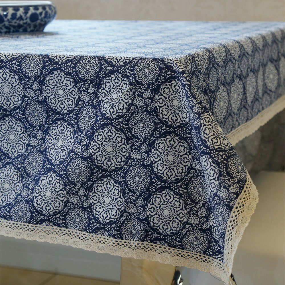 latest high grade fashion simple tablecloth dinner table linen blue flower desk cover cloth home