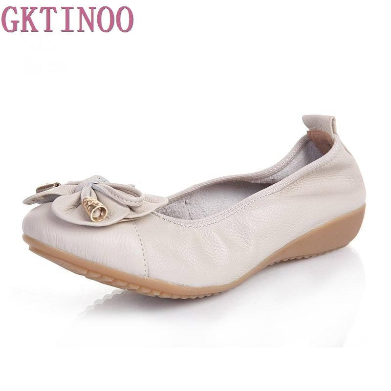 GKTINOO Women Genuine Leather Flat Shoes Woman Slip On Loafers Comfortable Ballet Shoes Female Moccasins Big Size 35-42 new genuine leather women s casual shoes slip on woman flat shoe flexible women loafers moccasins female footwear big size 35 40