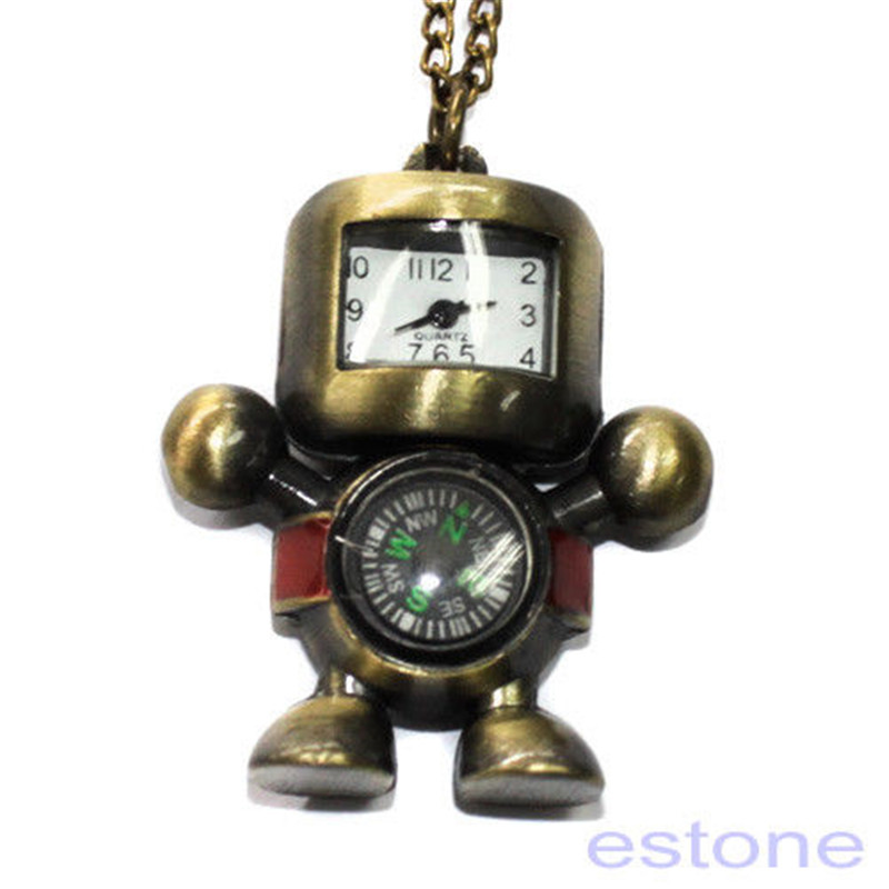 Hot Vintage Bronze Tone Robot Compass Pocket Chain Quartz Pendant Watch Necklace Watches
