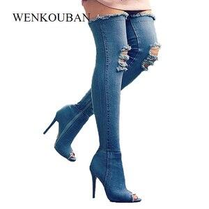 Image 2 - ג ינס כחול Botas נשים ירך גבוהה מגפי חורף דק גבוהה עקבים נשים ג ינס מעל הברך מגפי פיפ בוהן נעלי Zapatos דה Mujer 2020