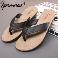 Ipomoea Brand 2017 Summer Cool Suede Nap Flip Flops Women Sandals Non Slide Leather Couple Beach