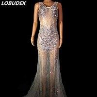 Сексуальное прозрачное разноцветное платье со стразами и шлейфом, белое Сетчатое длинное платье без рукавов с прозрачными кристаллами, Жен
