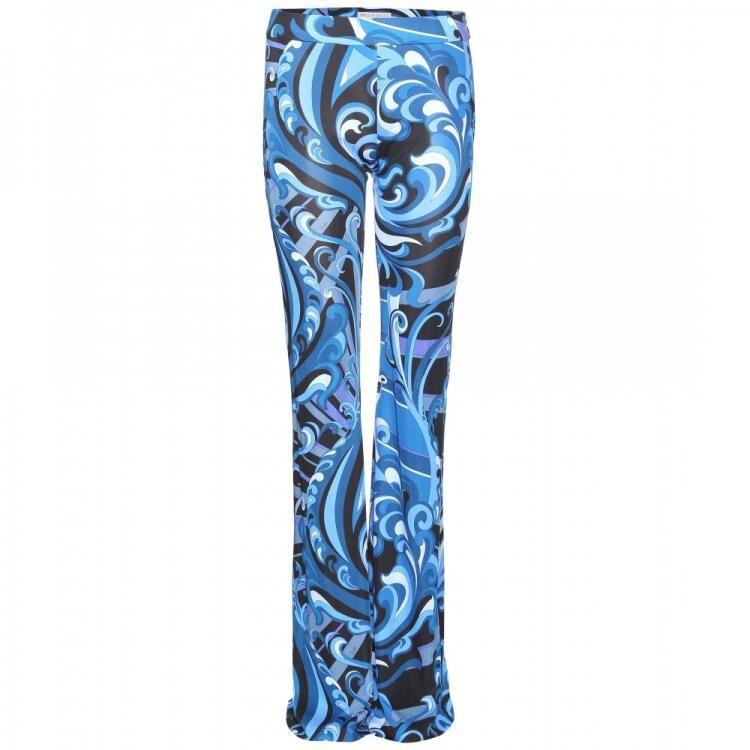 Bleu Silk Mode Jersey Longue Géométrique High Pantalon Imprimé 2014 Luxe Piste Flare Street Marques Femmes De HaqHFYCw