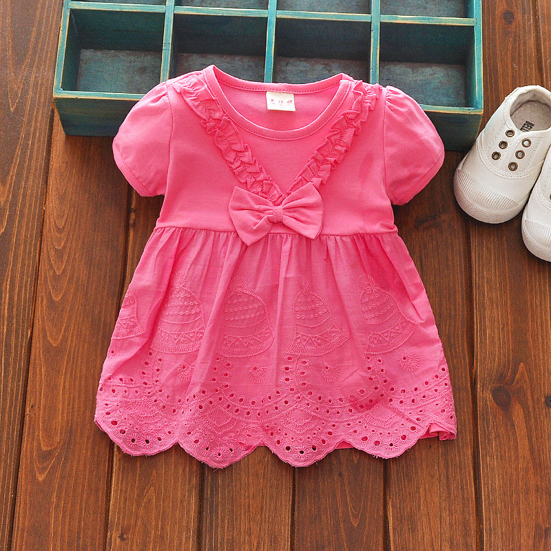 2018 Summer Short Sleeved Little Baby Girls Clothes Clothes Lace Pure Color Round Neck Knee Dress Bebes Jogging Suits
