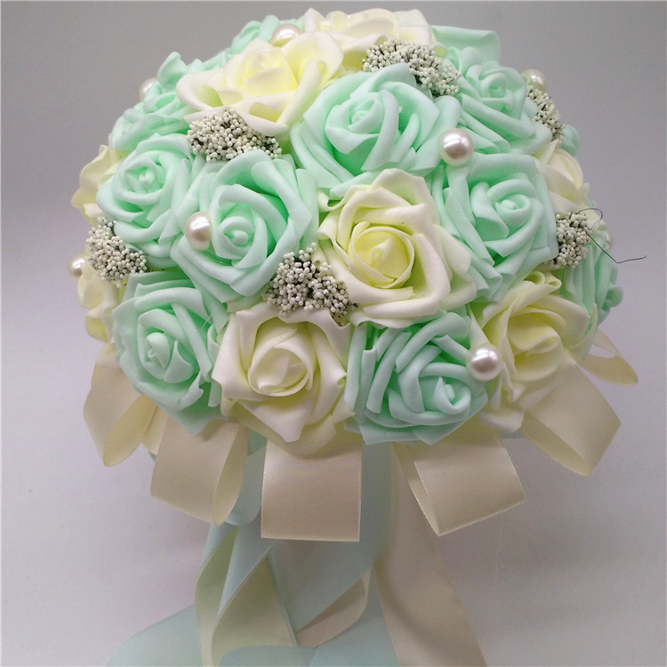 Super Exquisite!!! Colorful wedding bouquet pear baded crystal rose  YU29