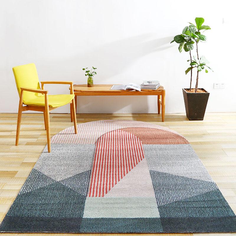 Unico ponte a forma di post-morden soggiorno tappeto, Nordic grande formato da comodino tappeto, blu decorazione ufficio tappeto, materassino