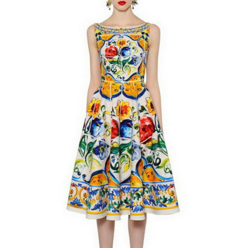 Sicily Fashion Women s Clothing High Quality Back Button Ladies European 2017 Summer Totem Print Restoring