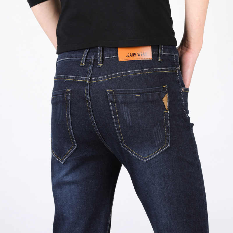 新ブランドのメンズデザイナーブルージーンズストレッチカジュアルストレートデニムジーンズ男性スリムフィット綿事業 Vaqueros Hombre