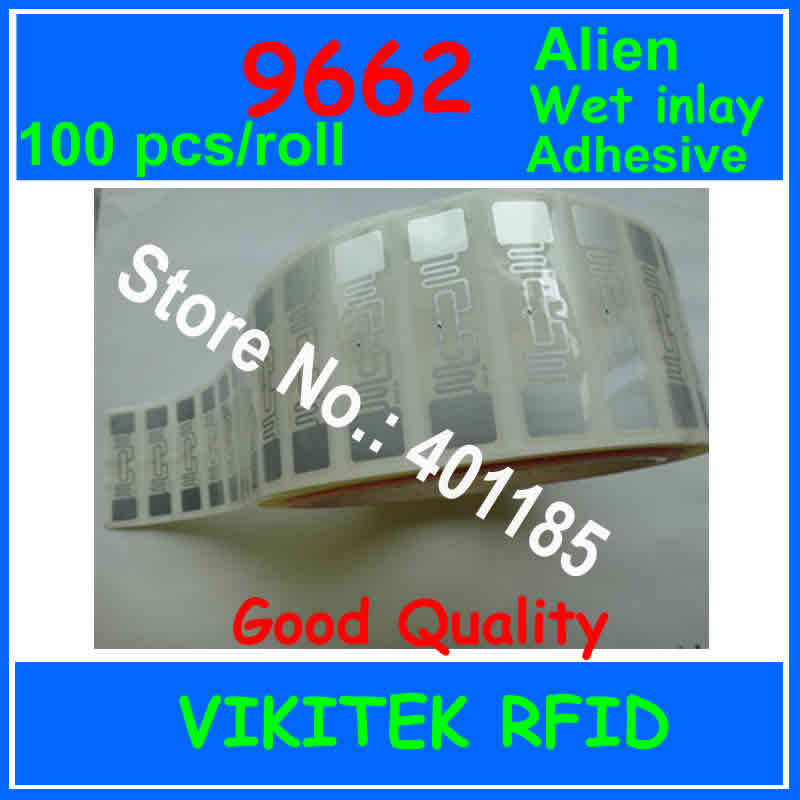 UHF RFID passive tags wet inlay Alien 9662 with glue 100pcs per roll 860-960MHZ Higgs3 915M EPC C1G2 ISO18000-6C RFID tag label 1000pcs uhf passive rfid windshield tag with alien h3 chip for parking management