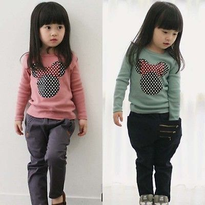 цены New Kids Toddler Clothes Girls Polka Dot Long Sleeve Casual T Shirt Blouse Tops