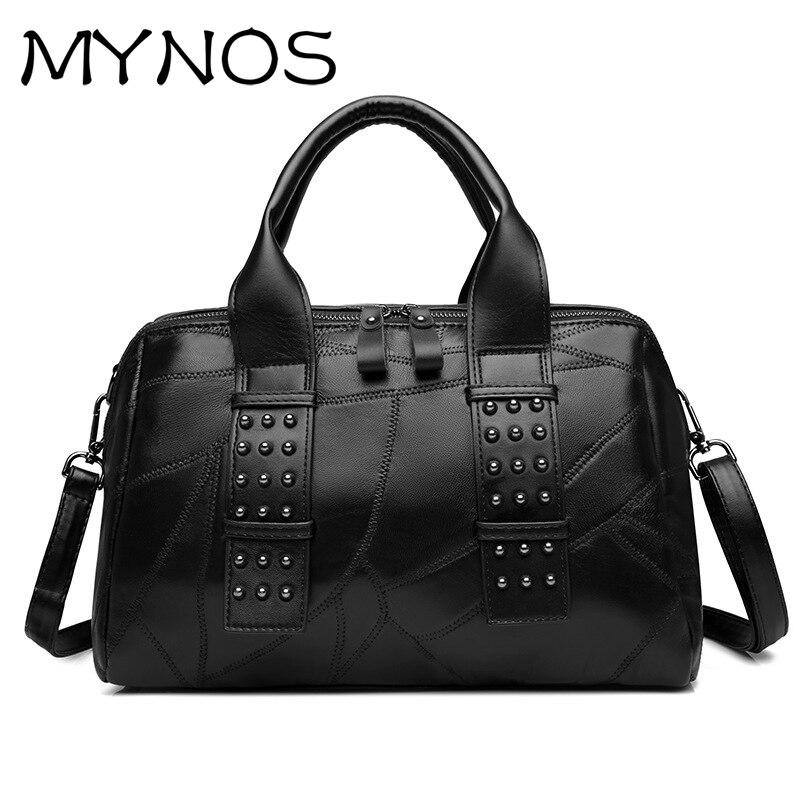 ФОТО MYNOS 100% Sheepskin Rivet Patchwork Women Messenger Bags Genuine Leather Handbag Luxury Handbags Women Bags Designer Bag Ladies