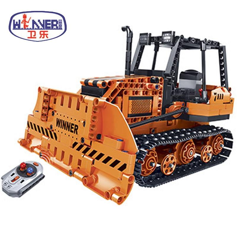 Technic City Remote Control RC Engineering Bulldozer Electric Bricks Model Building Blocks Toys Children Gifts