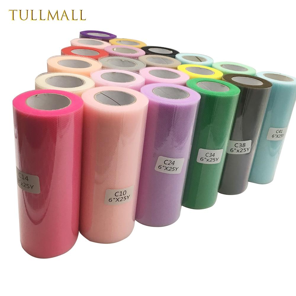 TULLMALL 25yards 15cm Tulle Rolls Wedding Decoration Fabric Spool Tutu Dress DIY Organza Baby Shower Party Supplies