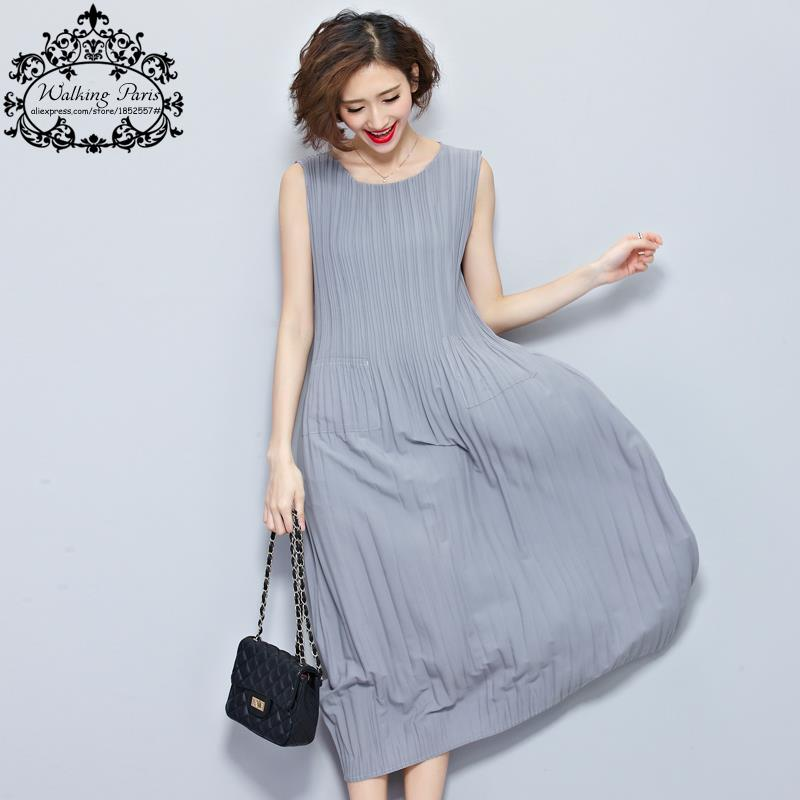 Mujeres dress tamaño grande drapeado estampado de rayas de algodón de moda casua