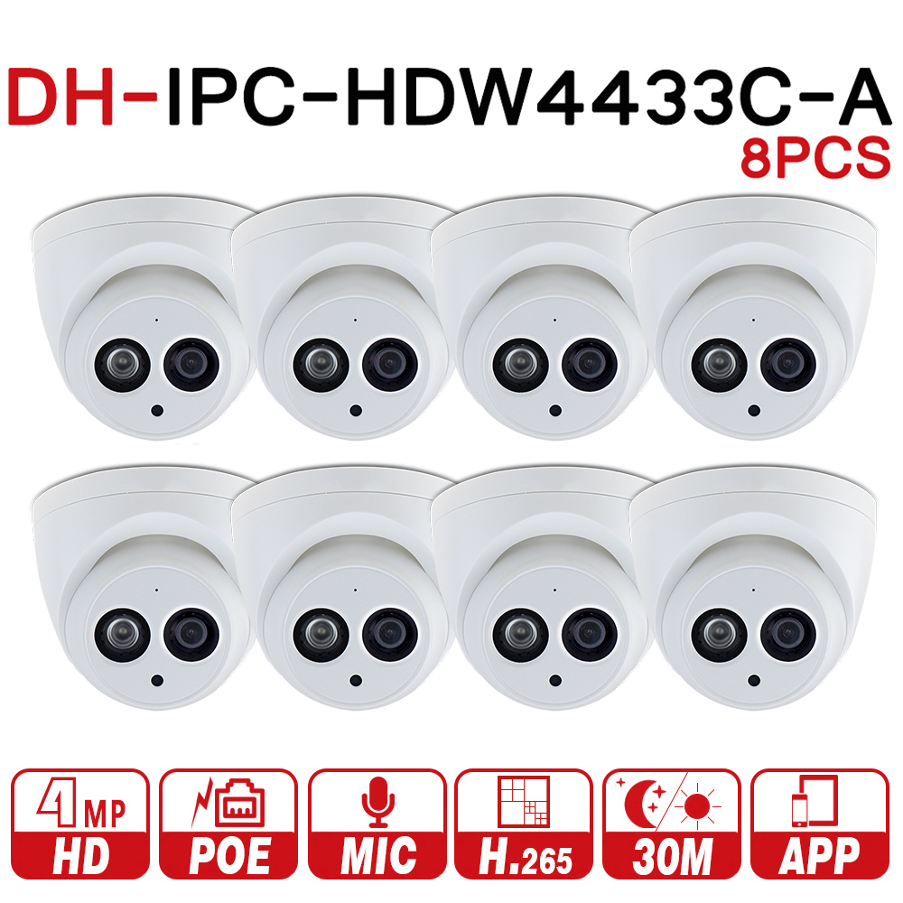DaHua IPC-HDW4431C-A POE Network Mini Dome Camera With Built-in Micro Full HD 1080P 4MP CCTV Camera 8pcs/Lot by Express
