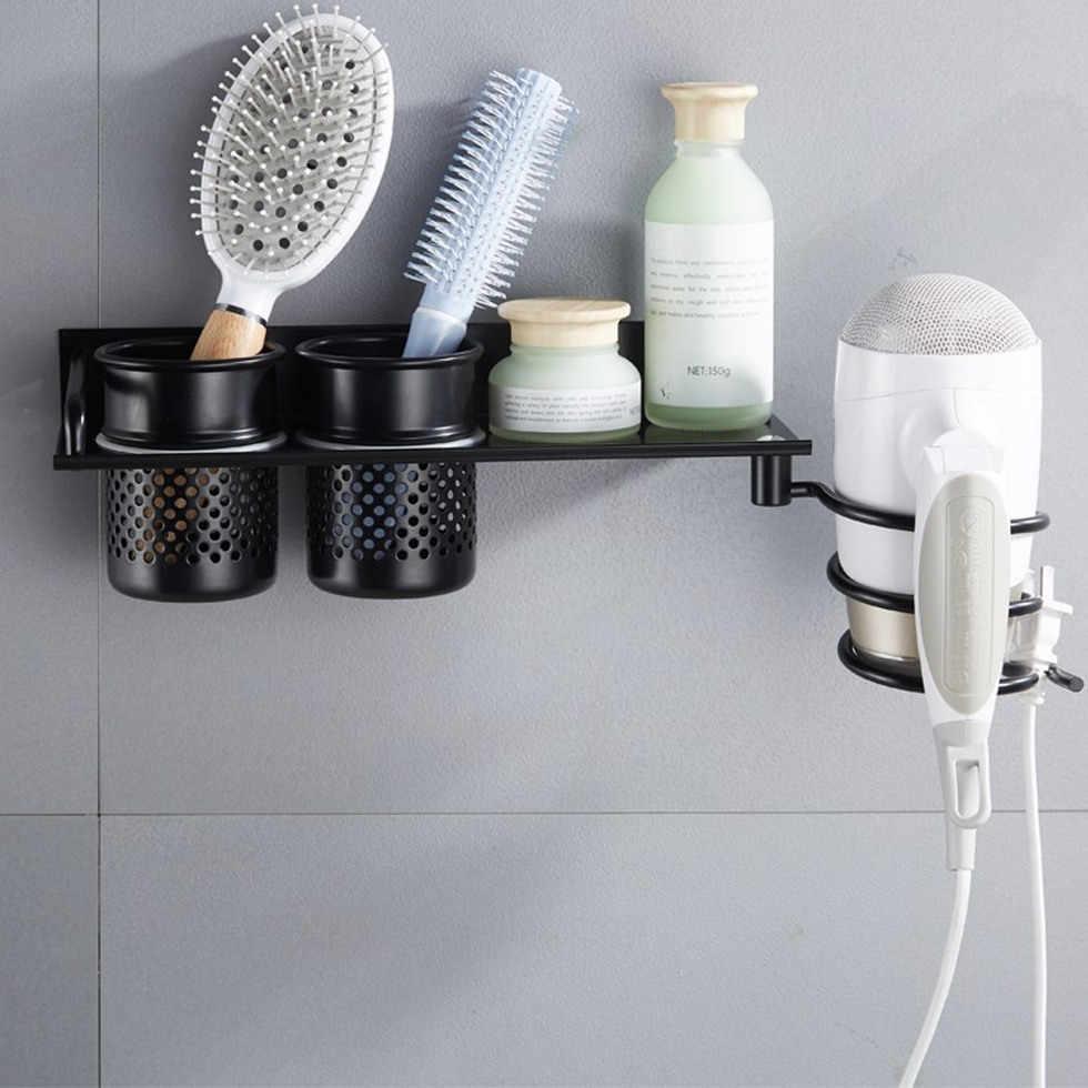 Stojak na suszarkę do włosów z czarnymi włosami z półkami na prysznic stojak na bieliznę do włosów półka na suszarkę do włosów półka aluminiowa akcesoria łazienkowe