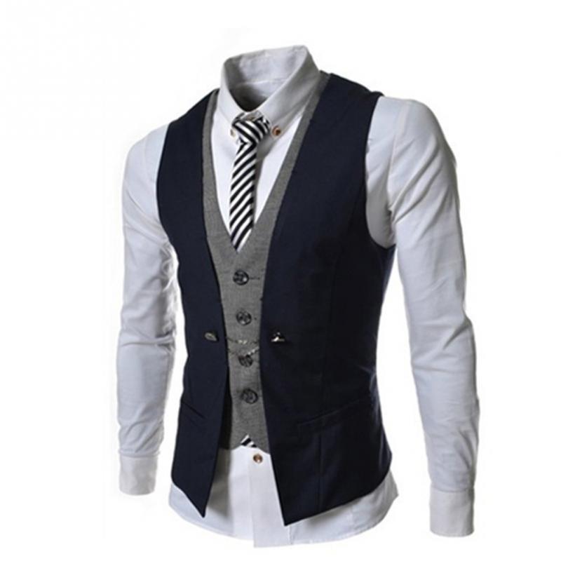 fashion sleeveless jacket waistcoat men suit vest male