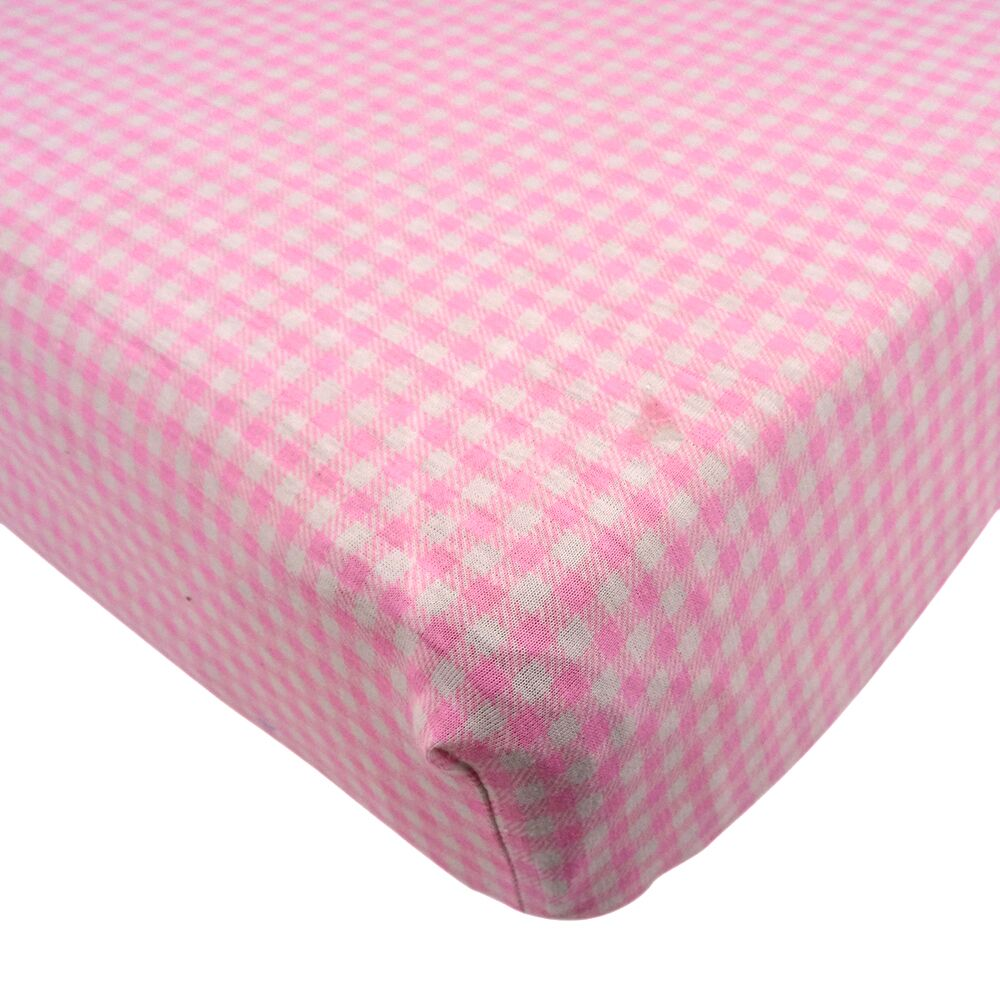 Fitted Crib Sheets Pink Plaid 100%Cotton Jersey Free Shipping ...