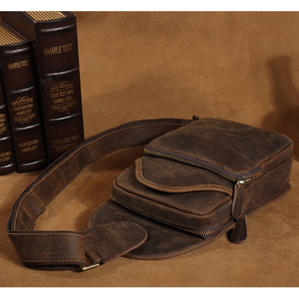 Tiding Mens หนาของแท้หนัง Vintage กระเป๋า Daypack Rucksack ขนาดเล็กไหล่กระเป๋า Messenger สีน้ำตาลเข้มใหม่ 3163-ใน กระเป๋าคาดเอว จาก สัมภาระและกระเป๋า บน   3