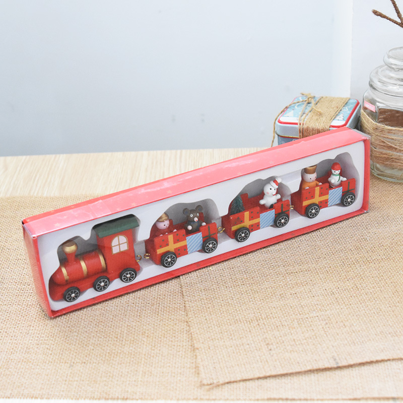 Рождество деревянный поезд Автомобили Дети Рождественские подарки Рождественские украшения стола