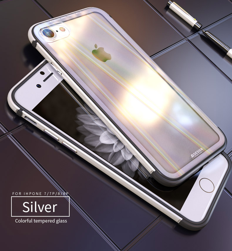 LUPHIE Aurora Laser Case For iPhone X 7 8 Plus clear glass Case (9)