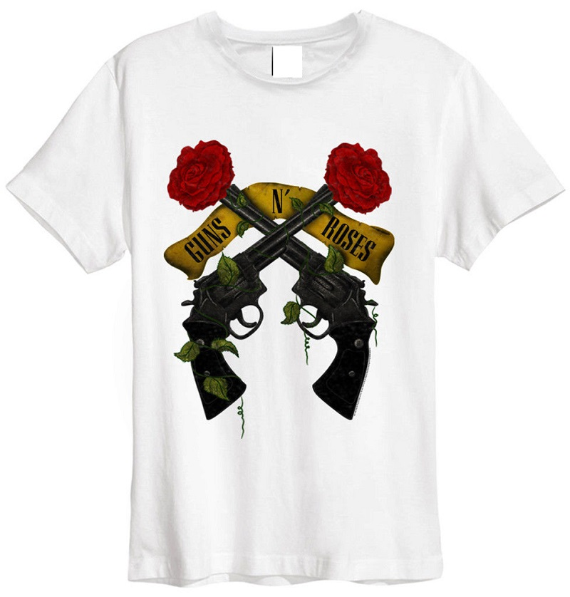 Summer Sleeves Casual O-Neck Short Sleeve Guns N Roses Shooting Roses Cotton Shirts For Men
