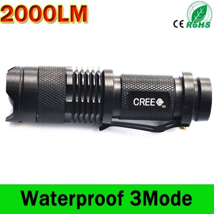 CREE Q5 Mini Torch LED Flashlight 2000 lumens Lanterna LED Torch Zoomable mini LED Tactical Flashlight light lantern zk94 high quality cree q5 2000 lumens lanterna waterproof mini black led flashlight 3 modes zoomable tactical torch light