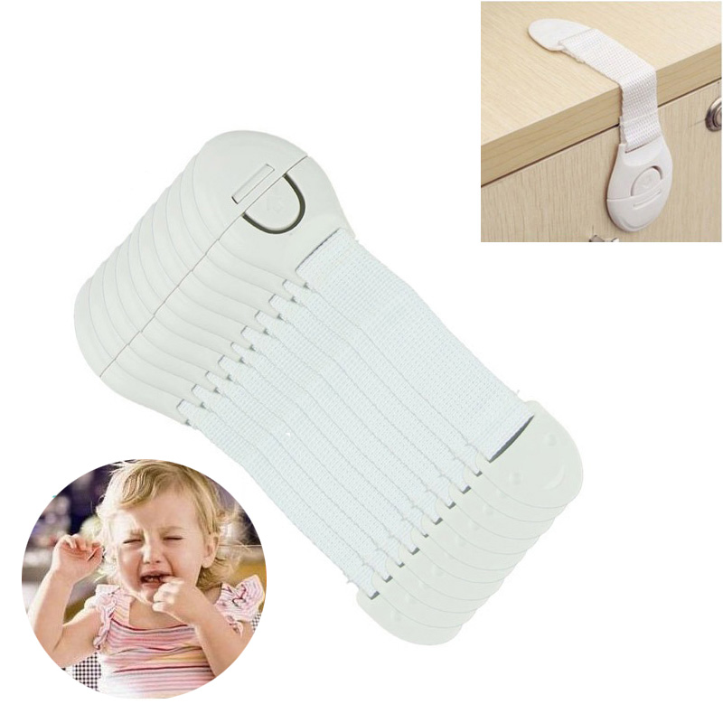 10Pcs Safety Plastic Children Protection Lock Cabinet Door Drawers Refrigerator Toilet Blockers Kids Baby Care Safety Lock Strap накладной светильник toplight citte tl9131y 01wh