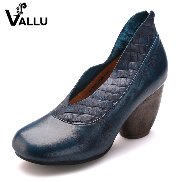 2017 Retro Style Handmade Shoes Women Chunky Heels Pumps Round Toe High Heels Genuine Leather