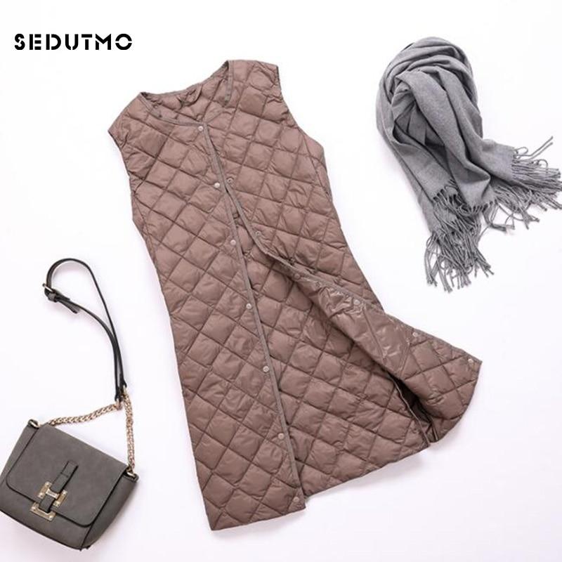 SEDUTMO Spring Plus Size 3XL Ultra Light Women Down Coat Long  Vest Autumn Puffer Jacket Waistcoat Slim Parkas ED759