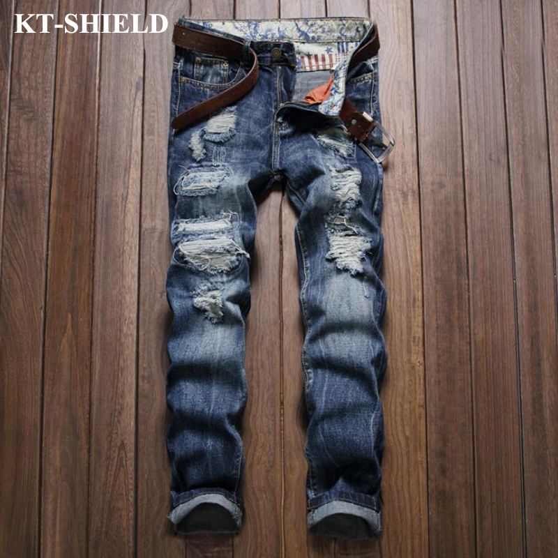 Blue Jeans Men Straight Denim Jeans Trousers Male Slim Brand Designer Ripped Men Pants High Quality