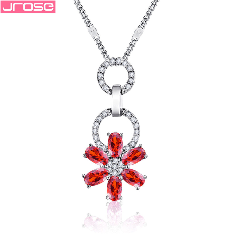 JROSE Cute Rose Flower Pendant Women Elegant Pink Red Cubic Zircon Crystal Wedding Pendants&Necklaces Jewellery Accessories