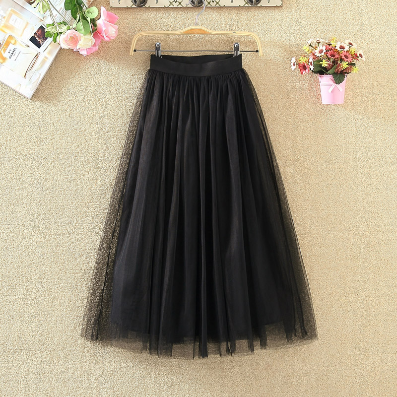 OHRYIYIE 19 Autumn Winter Vintage Skirts Womens Elastic High Waist Tulle Mesh Skirt Long Pleated Tutu Skirt Female Jupe Longue 11