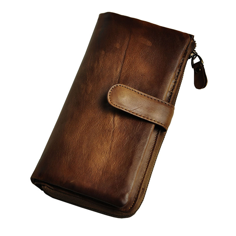 Men Genuine Leather Cowhide Bag Long Wallet Card Money Holder Clutch Purse Vegetable Tanned Leather Wallets Phone Pocket