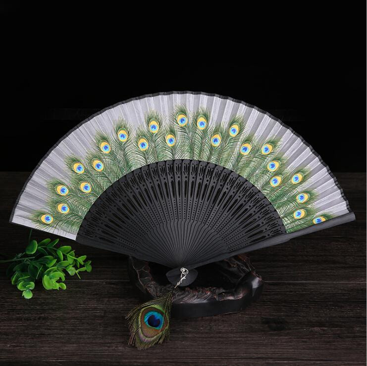 Chinese Style Hand Held Fan Bamboo Paper Folding Fan Party Wedding Decor Popular(China)
