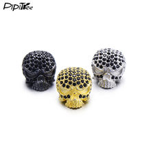 Pipitree New Arrival Retro DIY Skull Beads Black Zirconia Spacer Charm Beads for Bracelet Jewelry Making Men Jewelry Accessories(China)