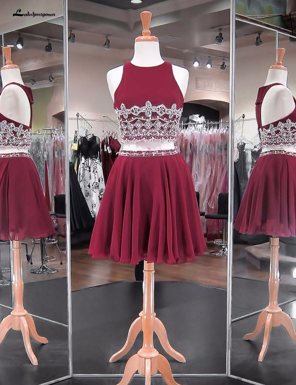 Sexy Backless Burgundy Chiffon Homecoming Dresses Graduation