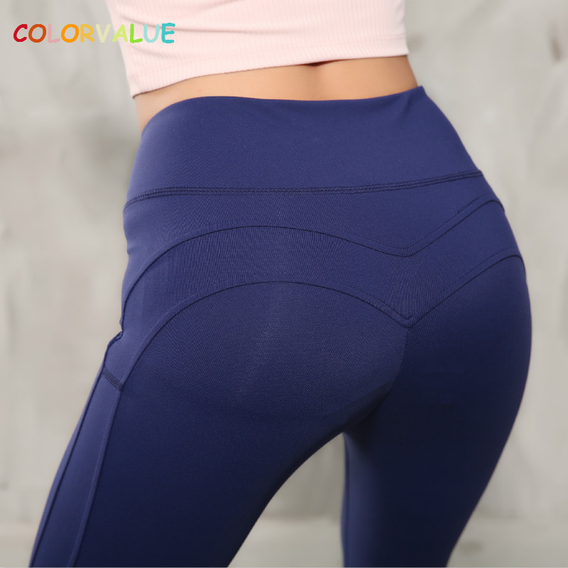 Colorvalue Sexy M-Type Mention Hip Yoga Gym Leggings Women Stretchy Hip-Up Fitness Pants Anti-sweat Sport Athletic Leggings