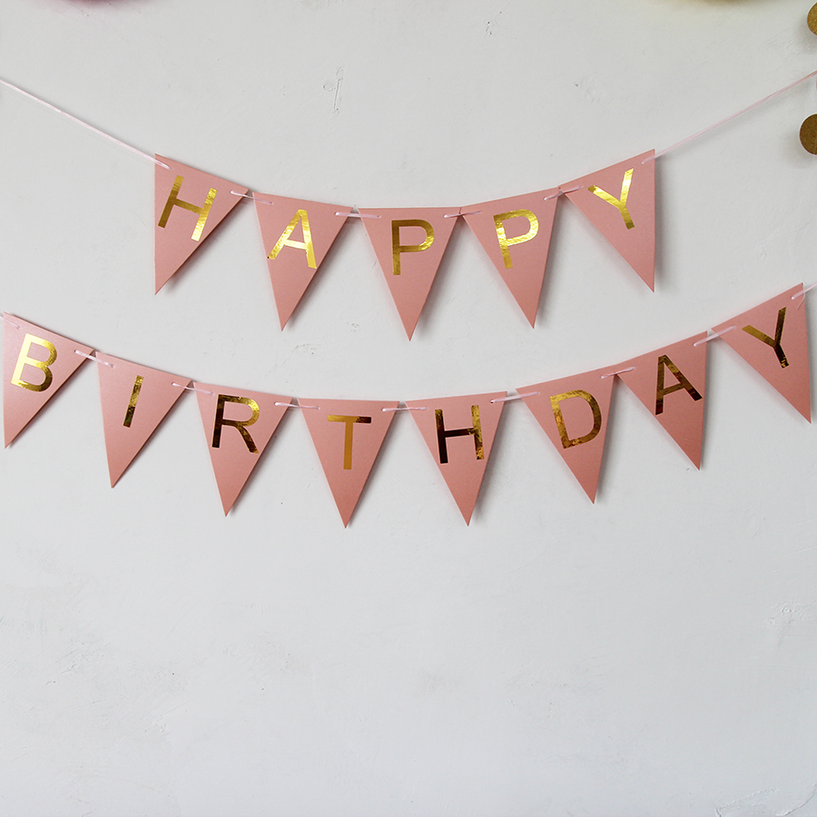 Pink Happy Birthday Decoration Flags Golden Paper Birthday Party Decor Banners Christmas Home Door Wall Sign Hanging 1175001 -in Banners ...  sc 1 st  AliExpress.com & Pink Happy Birthday Decoration Flags Golden Paper Birthday Party ...