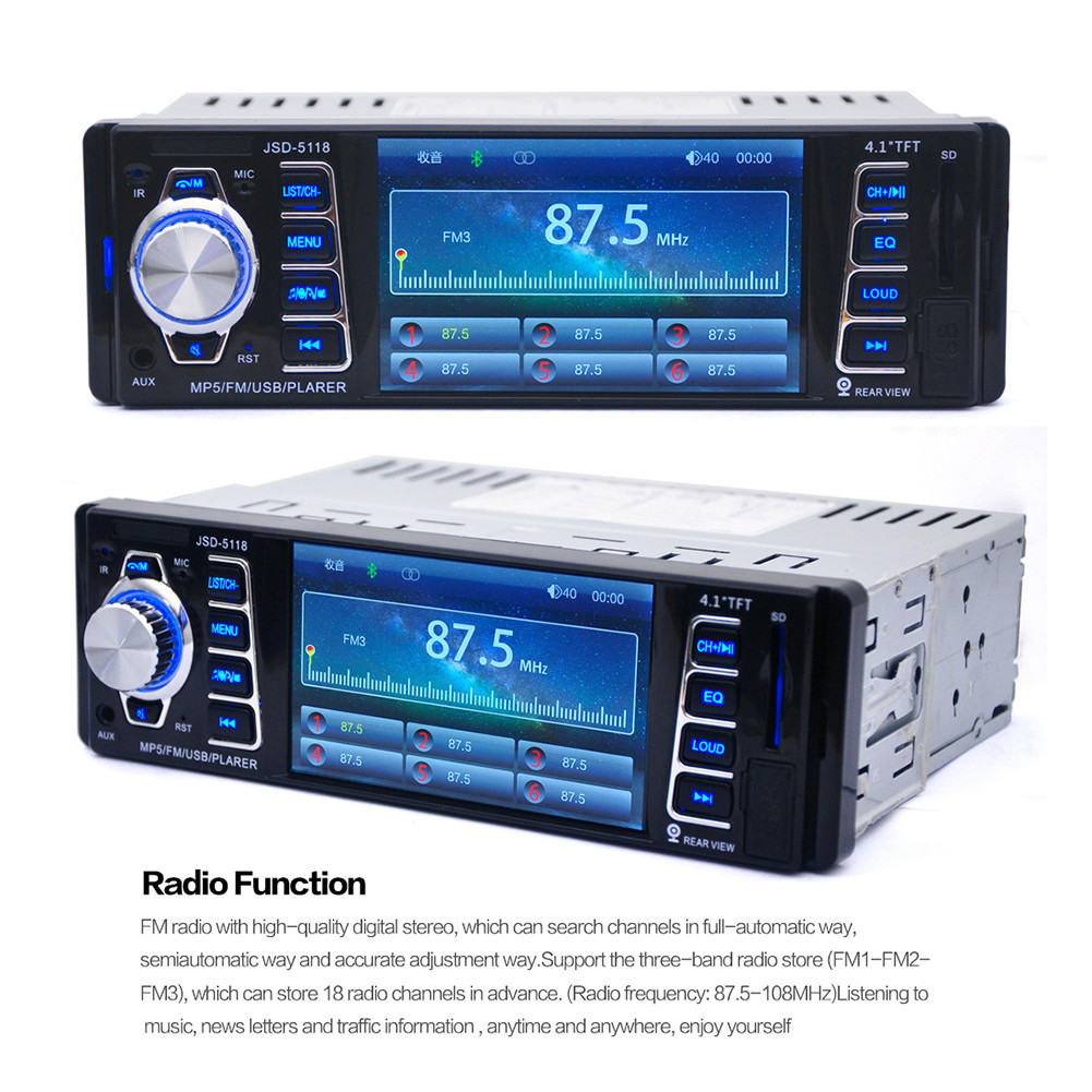hd 4 1 inch usb car bluetooth 1 din car in dash stereo. Black Bedroom Furniture Sets. Home Design Ideas