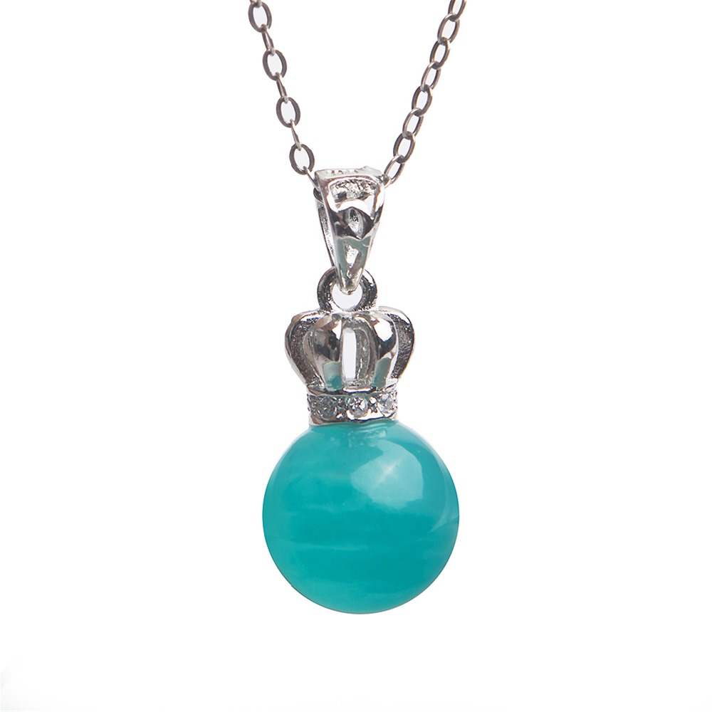 Birthday Gifts For Women Necklace Fashion Jewelry Natural Gems Amazonite Round Bead Pendant Necklace Not Chain