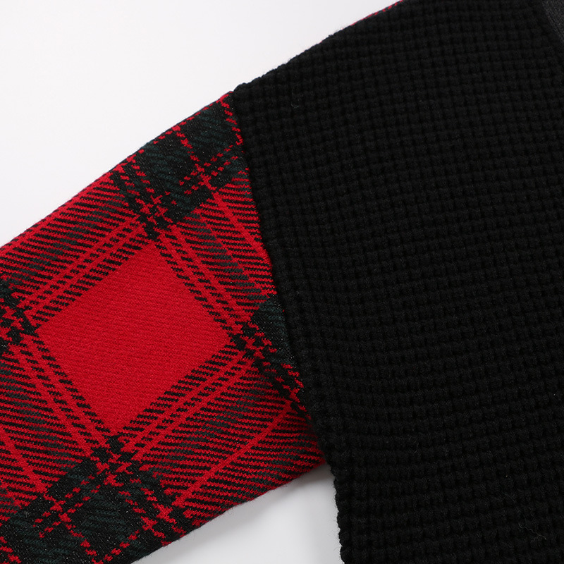 Patchwork Col Plaid Chandail Cardigan Streetwear Gy2018596 Noir Long 2018 Manteau Profond Gruiiceen Femmes En V P80wknO