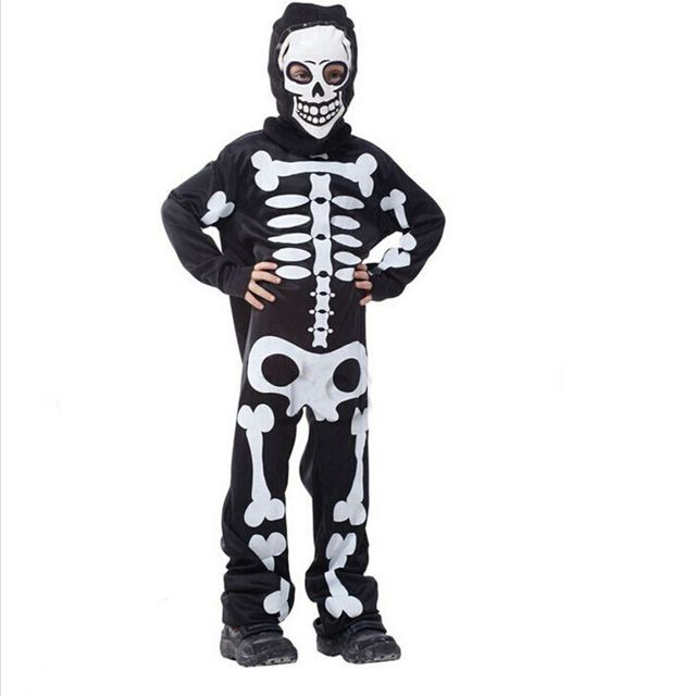 Free shipping Halloween Carnival Party Costume Game Performance Black Clothing Children's Terror  Skeleton Costumes with Cap