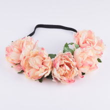 CXADDITIONS Tela Peony Wildflower diadema Headwrap Elegant Flower crown Romántica Dama de honor Floral crown Boho Rustic wedding