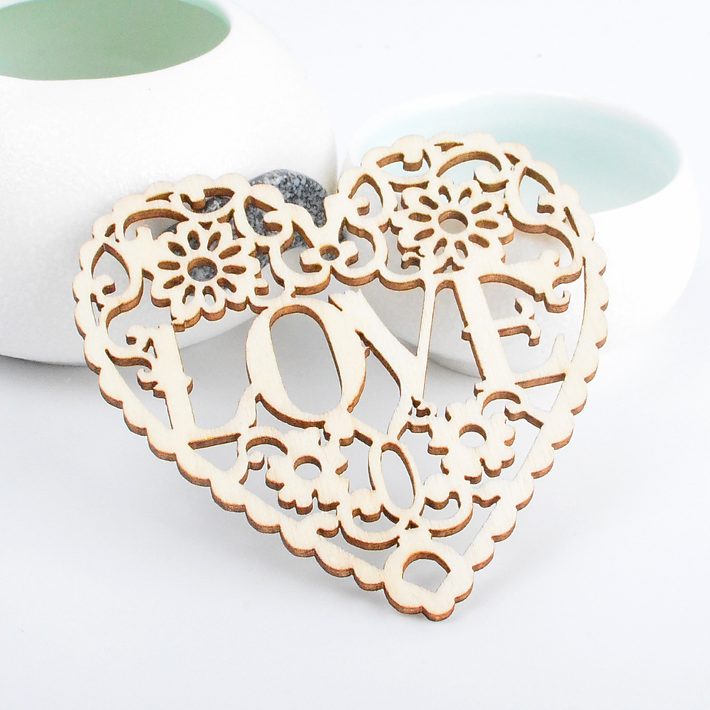 10pcs Heart Shape Laser Cut Wood Embellishment Wooden Craft Wedding Decor HOT
